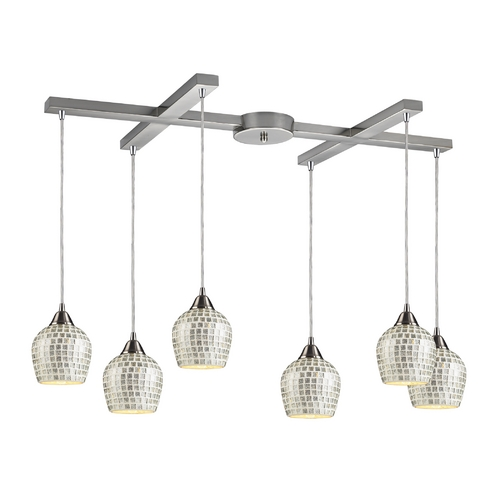 Elk Lighting Modern Multi-Light Pendant Light with Grey Glass and 6-Lights 528-6SLV