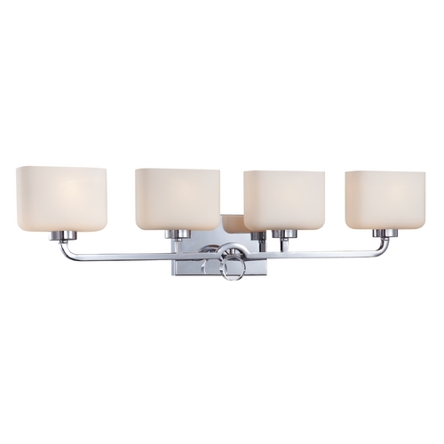 Designers Fountain Lighting Modern Bathroom Light with White Glass in Chrome Finish 6624-CH