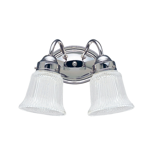 Sea Gull Lighting Bathroom Light with Clear Glass in Chrome Finish 4871-05