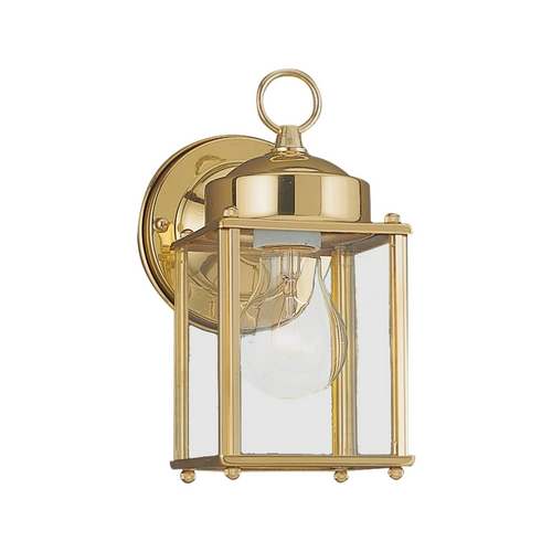 Sea Gull Lighting Outdoor Wall Light with Clear Glass in Polished Brass Finish 8592-02