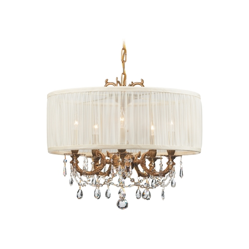 Crystorama Lighting Crystal Mini-Chandelier with White Shade in Aged Brass Finish 5535-AG-SAW-CLM