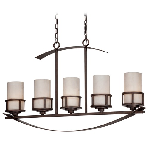 Quoizel Lighting Island Pendant Light with White Onyx Cylinder Shades KY540IN