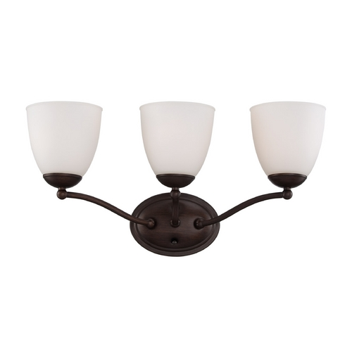 Nuvo Lighting Bathroom Light with White Glass in Prairie Bronze Finish 60/5133