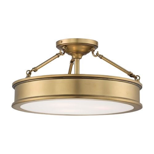 Minka Lavery Semi-Flushmount Light with Etched in Liberty Gold Finish 4177-249