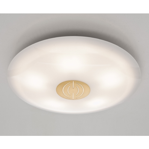 Holtkoetter Lighting Holtkoetter Modern Semi-Flushmount Light with White Glass in Antique Brass Finish 3505DEK AB
