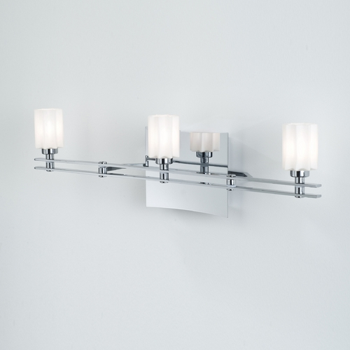 Holtkoetter Lighting Holtkoetter Modern Bathroom Light with White Glass in Chrome Finish 5583 CH G5014