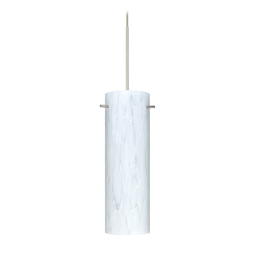 Besa Lighting Besa Lighting Copa Satin Nickel LED Mini-Pendant Light with Cylindrical Shade 1XT-493019-LED-SN