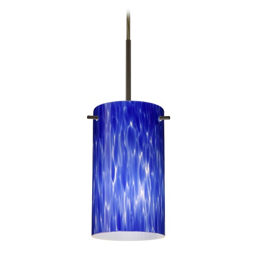 Besa Lighting Besa Lighting Stilo Bronze LED Mini-Pendant Light with Cylindrical Shade 1BT-440486-LED-BR