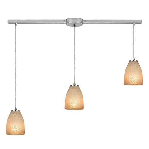Elk Lighting Elk Lighting Sandstorm Satin Nickel Multi-Light Pendant with Bowl / Dome Shade 10476/3L