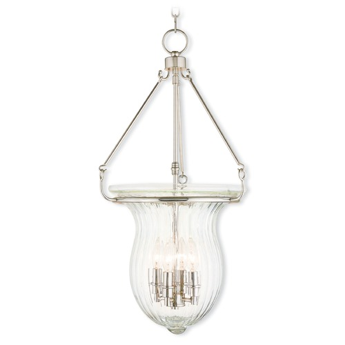 Livex Lighting Livex Lighting Andover Polished Nickel Pendant Light with Fluted Shade 50946-35