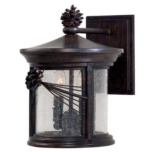 Minka Lavery Outdoor Wall Light with Clear Glass in Iron Oxide Finish 9152-A357