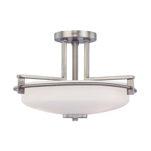 Quoizel Lighting Modern Semi-Flushmount Light with White Glass in Antique Nickel Finish TY1716AN