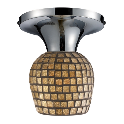 Elk Lighting Semi-Flushmount Light with Art Glass in Polished Chrome Finish 10152/1PC-GLD