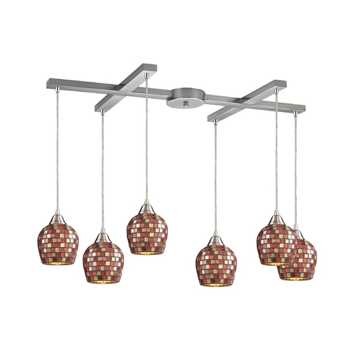 Elk Lighting Modern Multi-Light Pendant Light with Multi-Color Glass and 6-Lights 528-6MLT
