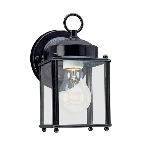 Sea Gull Lighting Outdoor Wall Light with Clear Glass in Black Finish 8592-12