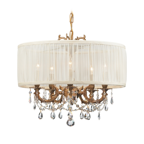 Crystorama Lighting Crystal Mini-Chandelier with White Shade in Aged Brass Finish 5535-AG-SAW-CLQ