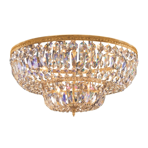 Crystorama Lighting Crystal Flushmount Light in Olde Brass Finish 736-OB-CL-MWP
