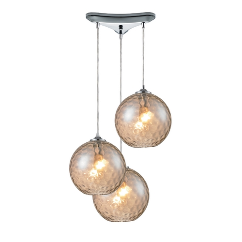 Elk Lighting Modern Multi-Light Pendant Light with Beige / Cream Glass and 3-Lights 31380/3CMP