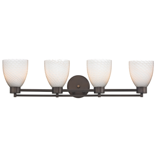 Design Classics Lighting Modern Bathroom Light with White Glass - Four Lights 704-220 GL1020MB