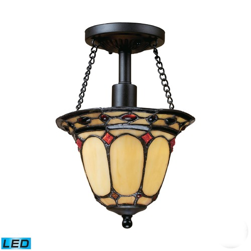 Elk Lighting Elk Lighting Diamond Ring Burnished Copper LED Semi-Flushmount Light 70089-1-LED
