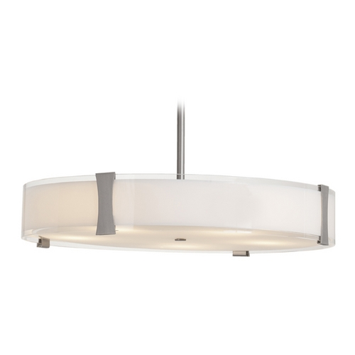 Access Lighting Access Lighting Tara Brushed Steel Pendant Light with Drum Shade C50124BSOPLEN1418B