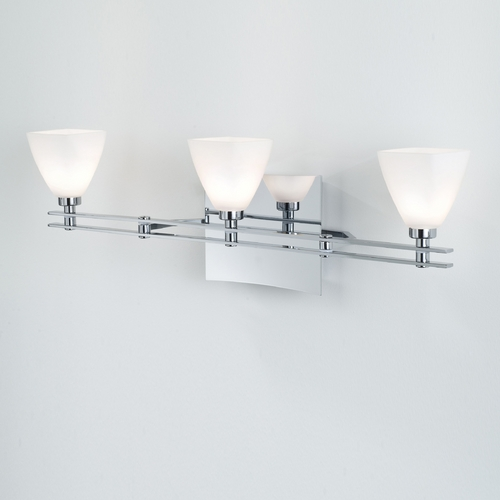 Holtkoetter Lighting Holtkoetter Modern Bathroom Light with White Glass in Chrome Finish 5583 CH G5015