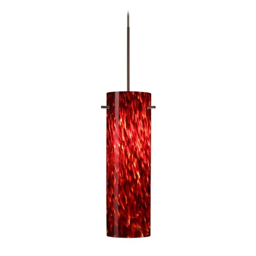 Besa Lighting Besa Lighting Copa Bronze LED Mini-Pendant Light with Cylindrical Shade 1XT-493041-LED-BR