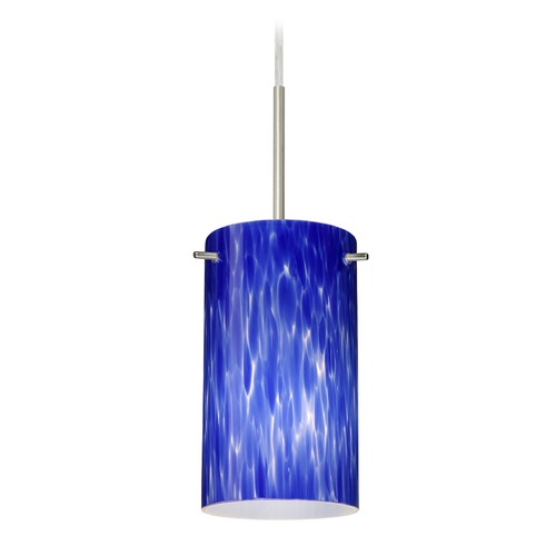 Besa Lighting Besa Lighting Stilo Satin Nickel LED Mini-Pendant Light with Cylindrical Shade 1BT-440486-LED-SN