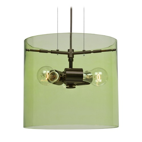 Besa Lighting Besa Lighting Pahu Bronze Pendant Light with Drum Shade 1KG-L18407-BR-NI