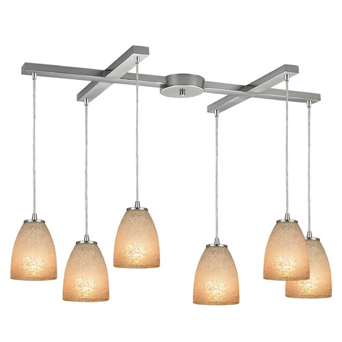 Elk Lighting Elk Lighting Sandstorm Satin Nickel Multi-Light Pendant with Bowl / Dome Shade 10476/6
