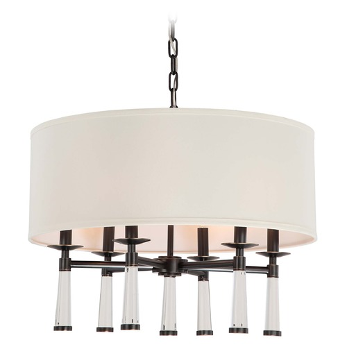 Crystorama Lighting Crystorama Lighting Baxter Oil Rubbed Bronze Pendant Light with Drum Shade 8866-OR