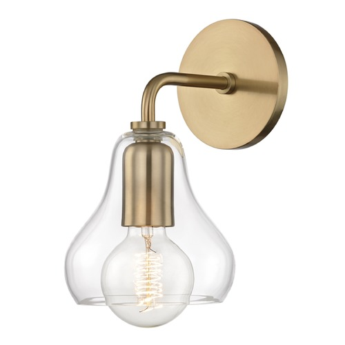 Mitzi by Hudson Valley Sadie Aged Brass Sconce Mitzi by Hudson Valley H104101S-AGB