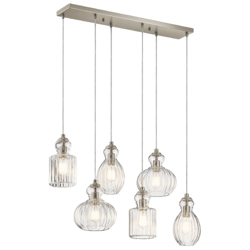 Kichler Lighting Transitional Multi-Light Pendant Brushed Nickel Riviera by Kichler Lighting 43950NI