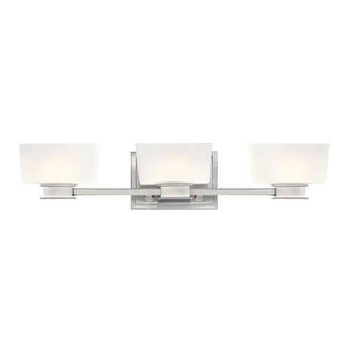 Designers Fountain Lighting Bathroom Light with White Glass in Satin Platinum Finish 6683-SP