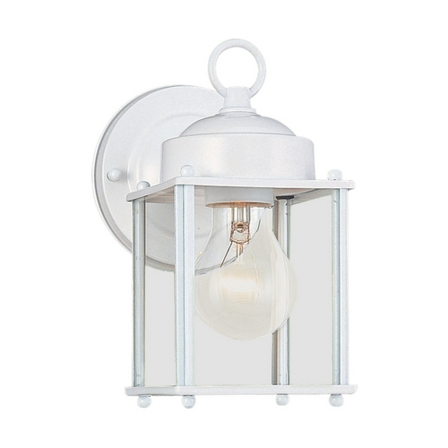 Sea Gull Lighting Outdoor Wall Light with Clear Glass in White Finish 8592-15