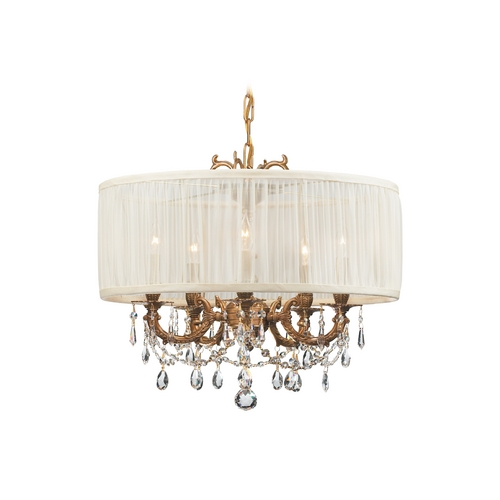 Crystorama Lighting Crystal Mini-Chandelier with White Shade in Aged Brass Finish 5535-AG-SAW-CLS