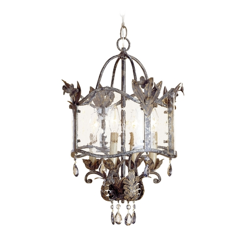 Currey and Company Lighting Mini-Chandelier with Clear Glass in Viejo Gold/silver Finish 9357