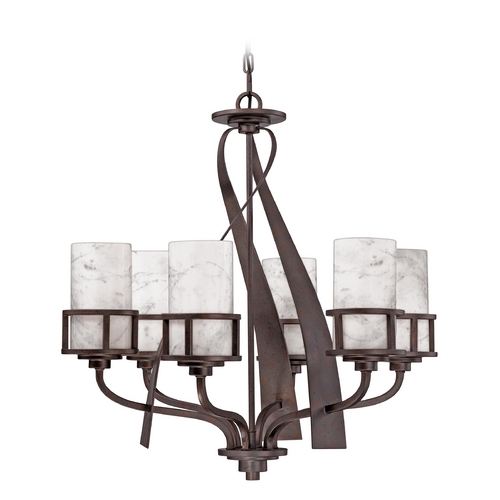 Quoizel Lighting Bronze Chandelier Light with White Onyx Shades in Iron Finish KY5006IN