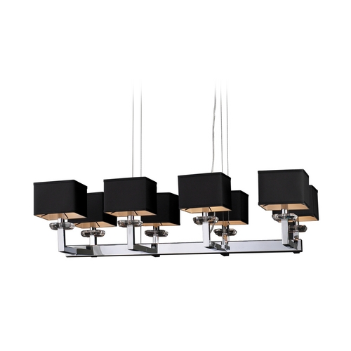 PLC Lighting Modern Island Light with Clear Glass in Polished Chrome Finish 70068 PC