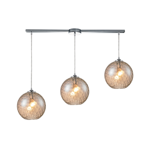 Elk Lighting Multi-Light Pendant with Amber Glass - Three Lights 31380/3L-CMP