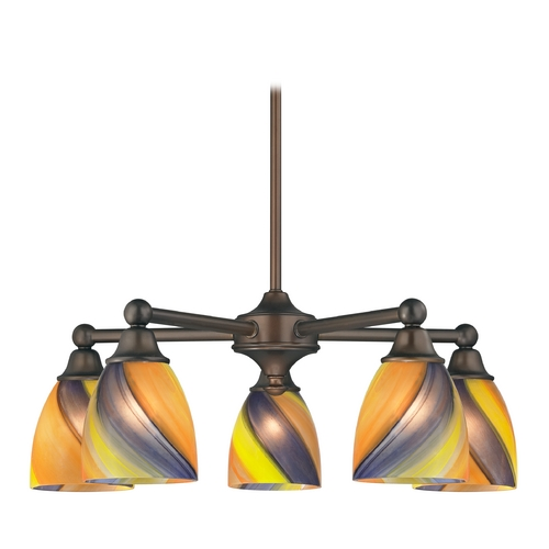 Design Classics Lighting Chandelier with Art Glass in Neuvelle Bronze Finish 594-220 GL1015MB