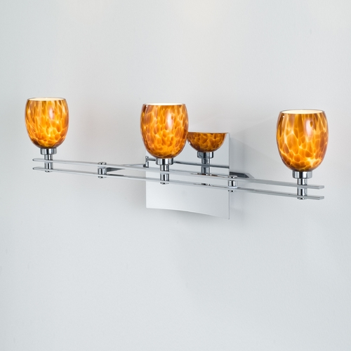 Holtkoetter Lighting Holtkoetter Modern Bathroom Light with Amber Glass in Chrome Finish 5583 CH G5020
