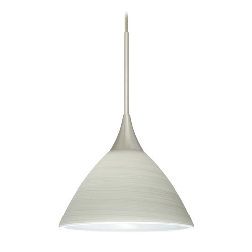 Besa Lighting Besa Lighting Domi Satin Nickel Mini-Pendant Light with Bell Shade 1XT-1743KR-SN
