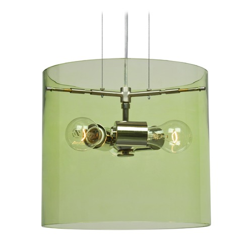 Besa Lighting Besa Lighting Pahu Satin Nickel Pendant Light with Drum Shade 1KG-L18407-SN-NI