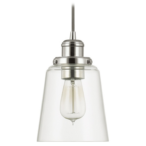 Capital Lighting Capital Lighting Polished Nickel Mini-Pendant Light with Empire Shade 3718PN-135