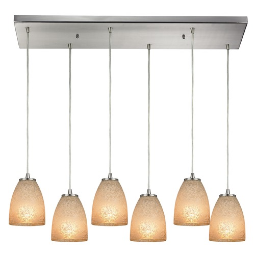 Elk Lighting Elk Lighting Sandstorm Satin Nickel Multi-Light Pendant with Bowl / Dome Shade 10476/6RC