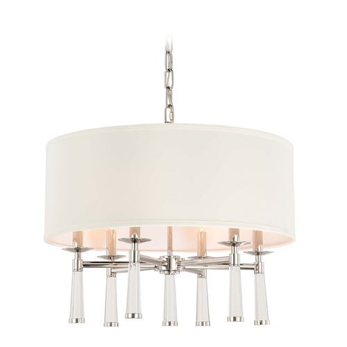 Crystorama Lighting Crystorama Lighting Baxter Polished Nickel Pendant Light with Drum Shade 8866-PN