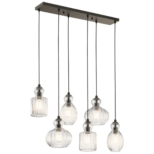 Kichler Lighting Transitional Multi-Light Pendant Olde Bronze Riviera by Kichler Lighting 43950OZ