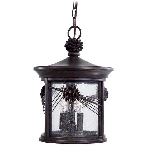 Minka Lavery Outdoor Hanging Light with Clear Glass in Iron Oxide Finish 9154-A357