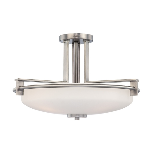 Quoizel Lighting Modern Semi-Flushmount Light with White Glass in Antique Nickel Finish TY1721AN